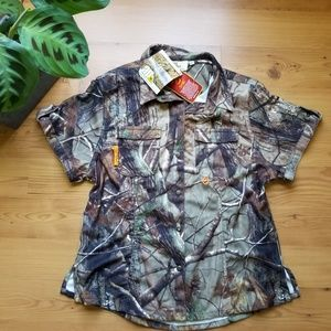 NEW REALTREE MENS CAMO SHIRT WITH BUTTON DOW